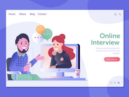 Online Job Interview Web Landing Page Template 矢量图像