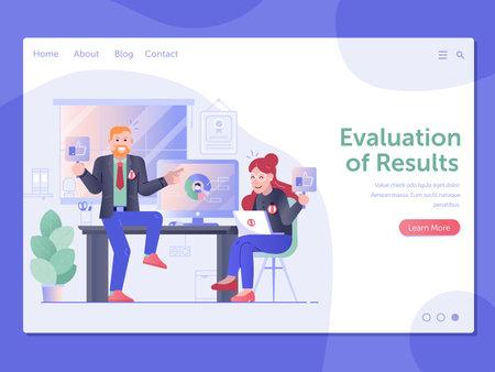Evaluations of Results Web Page Banner Template Ilustração