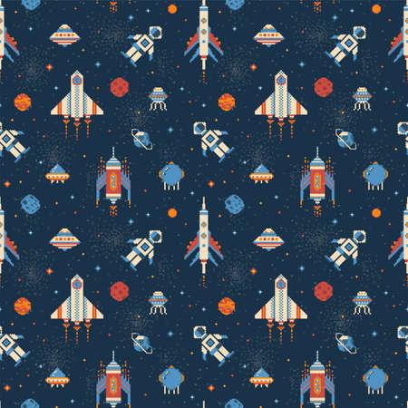 Pixel Art Inter Galactic Adventure Space Pattern Ilustração