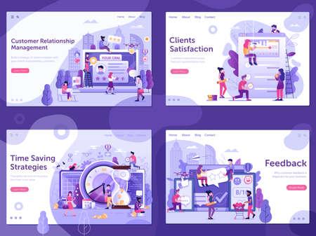 Online Business Management UI Banners in Flat Ilustração