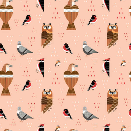 Popular Birds of World Flat Seamless Pattern