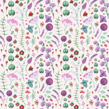 Watercolor Garden Flowers and Herbs Seamless Pattern
