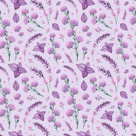 Purple Flowers and Leaves Watercolor Seamless Pattern Imagens