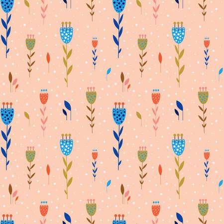 Small Flowers Botanical Seamless Pattern in Flat Ilustração