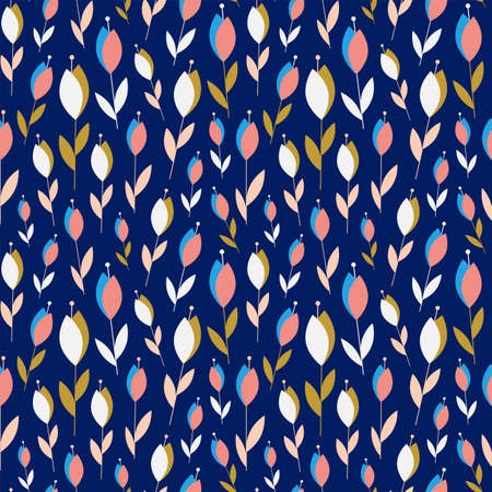 Abstract Small Flowers On Dark Blue Pattern