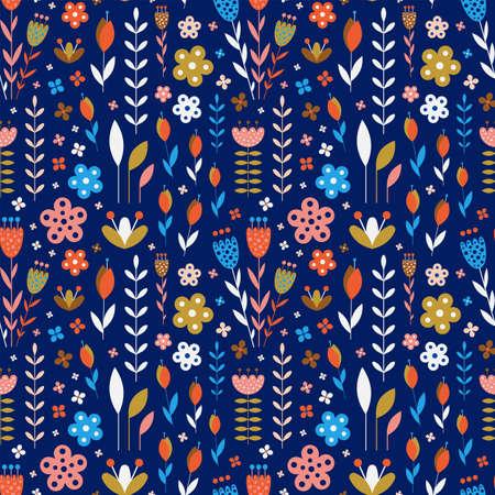 Abstract Meadow Flowers On Dark Blue Pattern