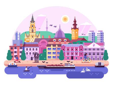 Europe City Novi Sad Town Flat Landscape
