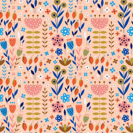 Abstract Flowers and Plants Botanical Flat Pattern