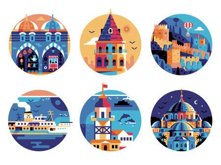 Istanbul Travel Landmarks Circle Icons Set