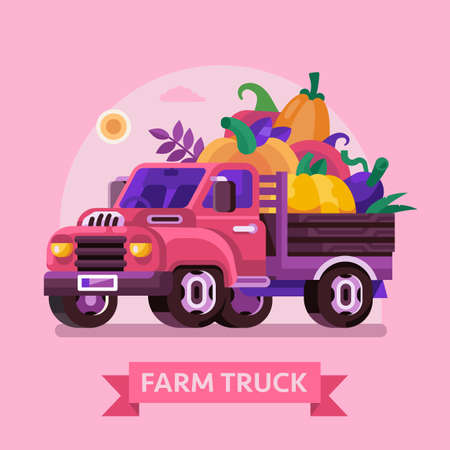 Farm Truck with Pumpkins and