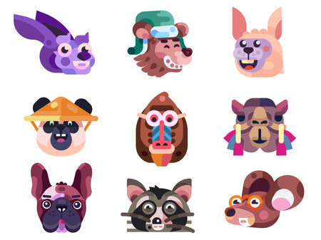 Funny Animal Heads and Faces Icons in Flat