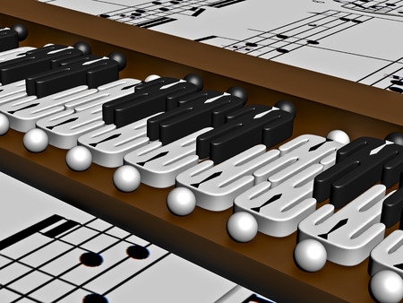 composers: Grand piano on background from notes in 3D