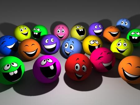 revelry: Group varicoloured smiling ball on gray background Stock Photo