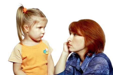 Difficult, unpleasant conversation of mother with 4 years daughter on