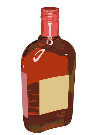 drunkenness: Figure of a glass bottle with alcohol. On a label there is a place for your text or figure! Illustration