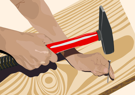 drive nail: One of elements of work of the carpenter-driving in of a nail in a board