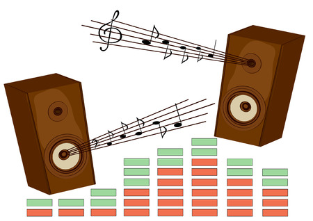 sounding: The vector image of musical acoustic system. Music, a sound, loudness