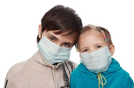 Children-brothers and the sister in protective medical masks