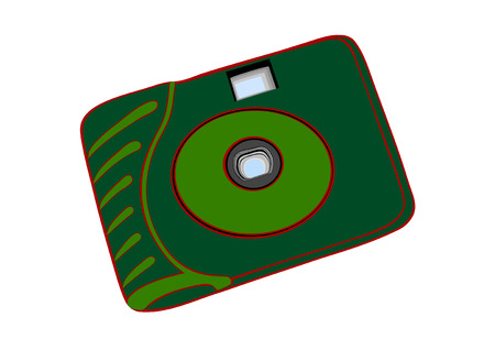 free picture: The green disposable film camera.Simple chamber for amateur photographers
