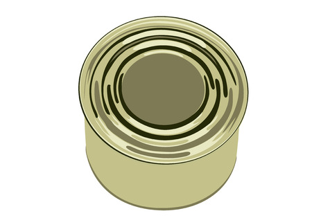 Tin bank with the tinned meal-meat, a fish or snack