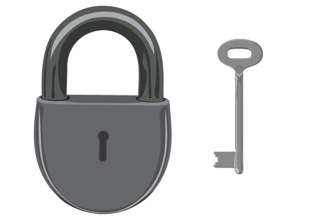 unblock: The hinged closed lock, as a symbol of reliability and protection. A key from the lock.