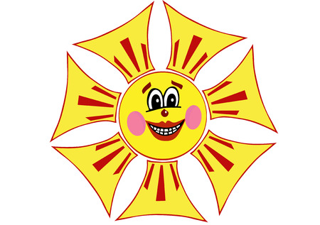 heats: The happy smiling sun, as a symbol of happiness and optimism