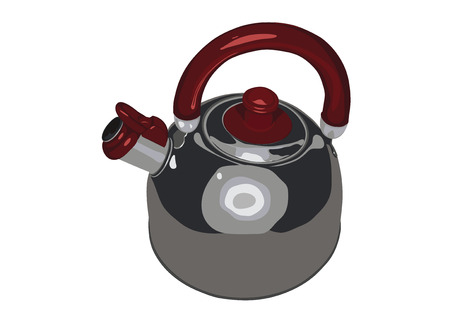 Metallic tableware is a tea-pot, it is isolated on a white background.Kitchen utensil