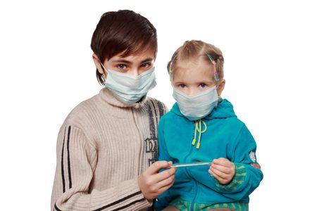 The ill children in respirators consider the medical thermometer   스톡 콘텐츠