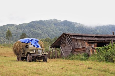 The lorry with hay on a background of the Altay mountains