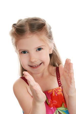 Chica con entusiasmo Palmas. Foto de archivo - 5807815