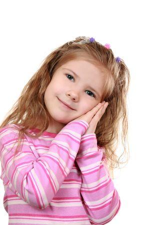 Girl gesture mimics sleep