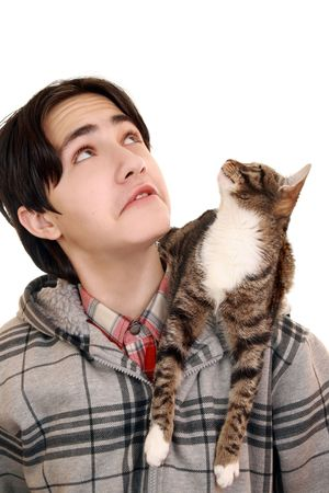 Teenager and a cat looking up photo