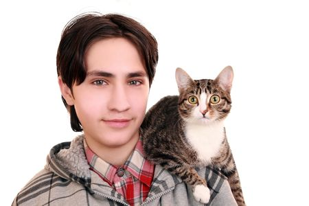 A teenager with a cat on his shoulder  photo