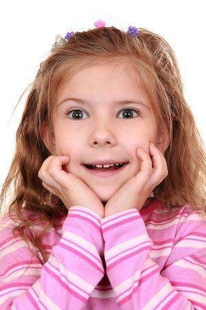 Emotional girl expresses admiration and surprise 版權商用圖片