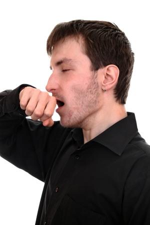 Tired student yawns  스톡 콘텐츠