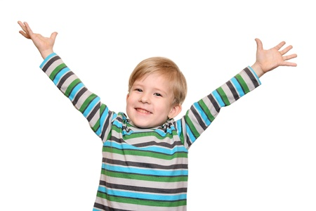 stretched out: Joyful kid with arms spread wide