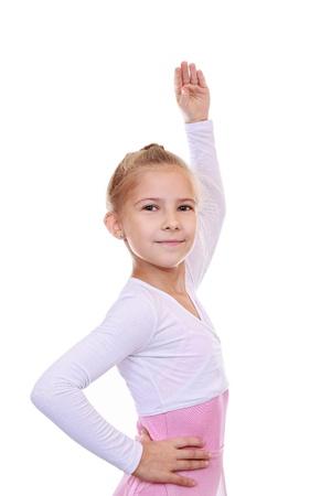 choreographic: 8-year-old girl performs choreographic exercise  Stock Photo