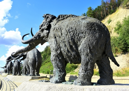 palaeolithic: Leaving Mammoth part of the sculptural complex  Archeopark  attractions Khanty-Mansiysk, Russia