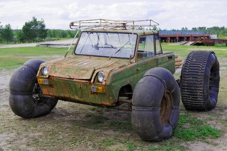 Homemade transport to get around the swamps  Banco de Imagens