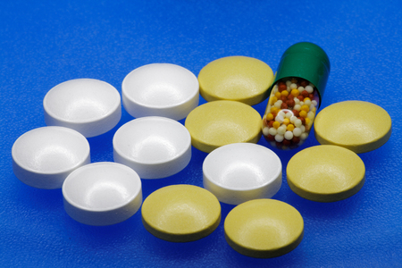 ampule: Medication: Tablets and ampule Stock Photo