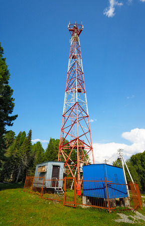 Altai Mountains, Siberia. Old mobile towers in hill