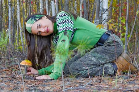 Beautiful girl with a mushroom