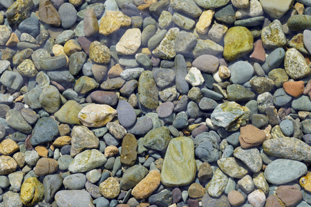 brilliant   undersea: Multicolored pebbles under the water Stock Photo
