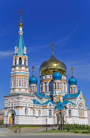 Uspensky Orthodox Cathedral in Omsk-city 版權商用圖片