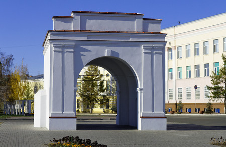 Russia, Omsk,. Omsk restored gates of the Omsk fortress late 18th century in the historical part of the city Фото со стока