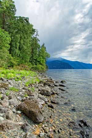 Teletskoye lake during the end of summer Stock Photo