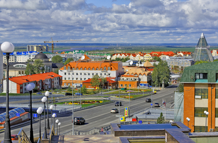 Khanty-Mansiysk, Russia.View of buildings in the city center, in the background - the lifeless space of the river and taiga