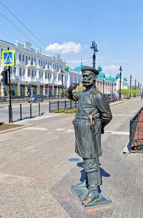 Russia,Omsk. Sculpture of the policeman of the 19th century