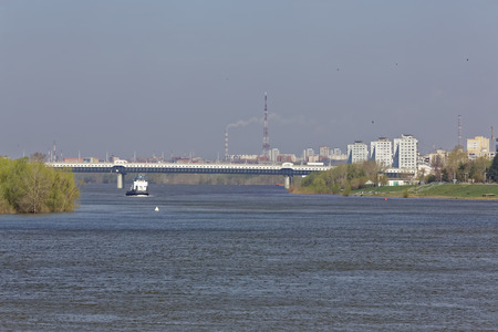 A spring day in the Siberian city of Omsk. View from the Irtysh River