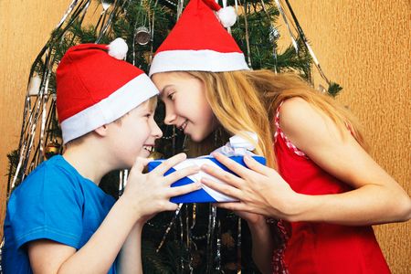 Teenagers siblings jokingly trying to snatch each others Christmas gift